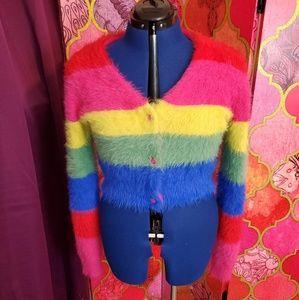 Rainbow fuzzy crop sweater